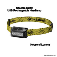 Nitecore NU10 160 Lumen USB Rechargeable Headlamp (Black)
