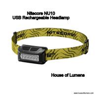 Nitecore NU10 160 Lumen USB Rechargeable Headlamp (Black)