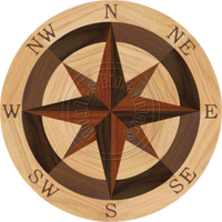 Sea Compass North Full (Red Oak) 24""