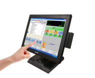 IPOS 15-inch 5-Wire Resistive POS Touch Screen Monitor/ Heavy Duty Stand & Credit Card Reader ( MSR )