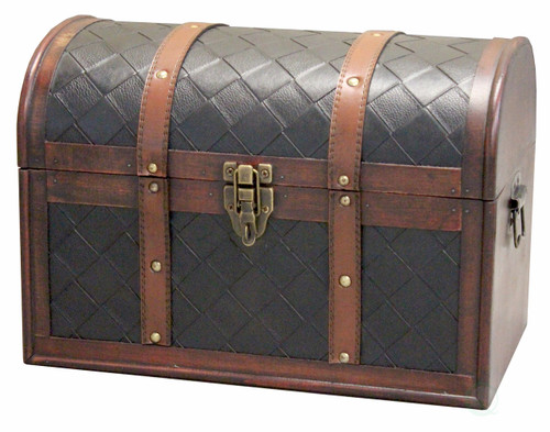 Wooden Leather Round Top Treasure Chest Decorative Storage Trunk With Lockable Latch