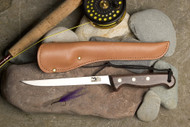"Grohmann 6"" filet knife, Rosewood handle, leather sheath - $69"