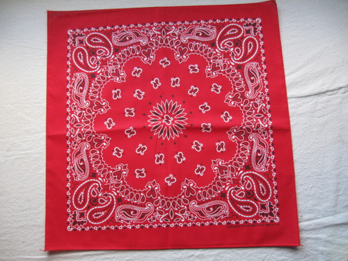"21""x21"" red paislley made in USA Bandanna"