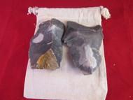 English flints on Natural Cotton drawstring bag.