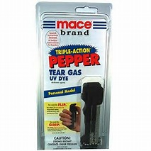 MACE TRIPLE-ACTION combines OC PEPPER with CN TEAR GAS along with a UV MARKING DYE. OC PEPPER causes eyes to slam shut and uncontrollable coughing and choking.