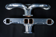 55 - 80 Corvette Ceramic Coated Ramhorn Manifold Replacement ! 1 3/4' Tubing to a 2 1/2' Collector