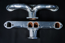 55 - 80 Corvette D-Port Ceramic Coated Ramhorn Manifold Replacement ! 1 3/4' Tubing to a 2 1/2' Collector