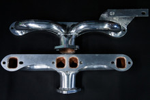 55 - 62 Corvette Ceramic Coated Ramhorn Manifold Replacement W/ Generator Bracket ! 1 5/8 to a 2' Collector