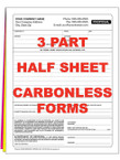 3 Part Half Sheet Custom Carbonless NCR Forms - From $43