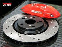 XLR8 Big Brake Kit by STOPTECH (With RED ST-41 Calipers, 328X28mm 1 Piece Drilled Discs)