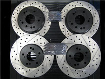 STOPTECH Drilled & Slotted Rotors with STOPTECH Ceramic Pads and XLR8 Stainless Steel Brake Lines - Front and Rear - TSX 11-12