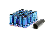 Wheel Mate Muteki SR48 Open End Lug Nuts - Burning Blue Neon 12x1.25 48mm