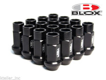 BLOX Racing Street Series Forged Lug Nuts - Black 12 x 1.5mm - Set of 16