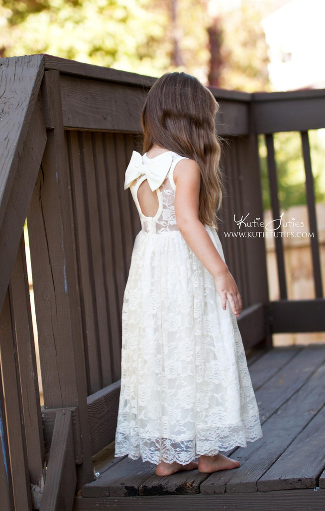 Ivory Lace Sweetheart Dress Keyhole Back