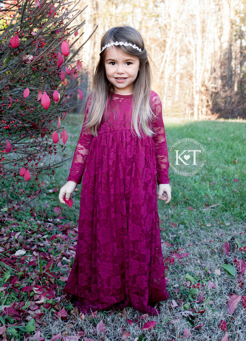 Burgundy Lace Sweetheart Dress