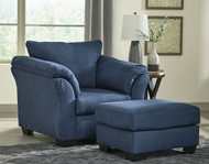 Darcy Blue Chair with Ottoman