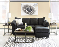 Darcy Black Sofa Chaise & Airdan Table Set