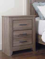 Zelen Warm Gray Two Drawer Night Stand
