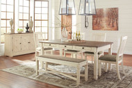 Bolanburg Antique White 7 Pc. Rectangular Dining Room Table, 4 Upholstered Side Chairs, Upholstered Dining Room Bench & Dining Room Server