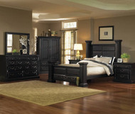 "Torreon King Bedroom Group ANTIQUE BLACK  ""SOLID WOOD PRODUCT"""