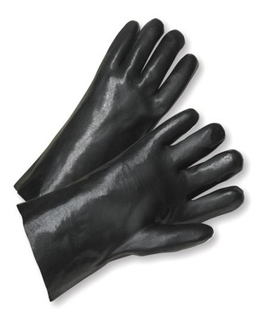 "12"" / 14"" Black Fully Coated PVC Work Gloves  ##265 ##"