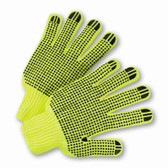 Hi-Vis Reverse PVC Palm Dot String Knit Gloves  ##RD300 ##