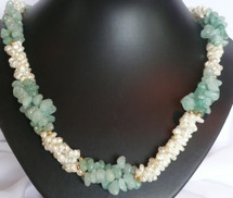 Soft Mint Crystal and Cultured Pearl Necklace