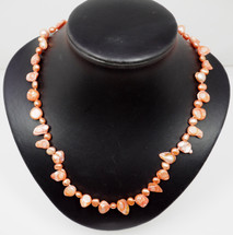 Apricot Baroque and Button Cultured Pearl Necklace