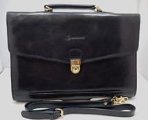 Navy Blue Leather Brief Case