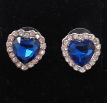 Dark Blue Austrian Crystal Heart Earrings