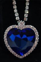 Dark Blue Austrian Crystal Rhinestone Heart Pendant