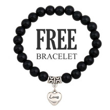 Trendy Black Bracelet - With Heart Charm