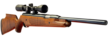 Keen's Tackle & Guns Stock The Air Arms Pro Sport Beech Air Rifle with recessed aluminium underlevel and automatic safety on trigger unit.