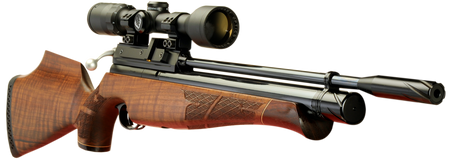 Keen's Tackle & Guns Stock The Air Arms S410 Walnut Multi-Shot Air Rifle with traditional bolt action and adjustable two stage trigger.