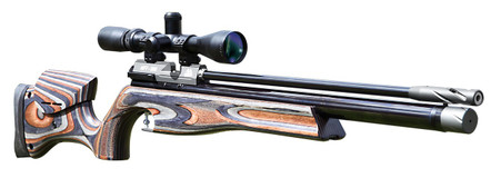 Keen's Tackle & Guns Stock The Air Arms HFT 500 Laminated 177 Target Air Rifle with single shot side lever action and built in manometer.