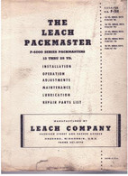 Leach packmaster P-6000 Operation Installation  Manual &  Parts List P-100 13 to 25 yard USED