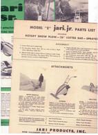 """Jari Power Scythe Plow Sprayer MODEL E """"Jari Jr"""" Parts List 4 pages  Plus sale sheet  original not a reprint"""