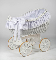 MJ Mark Bianca Due - Antique White - Spoke Wheels - Wicker Crib