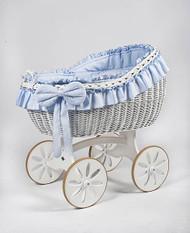 MJ Mark Bianca Due - Blue - Spoke Wheels - Wicker Crib