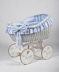 MJ Mark Bianca Due - Blue - Heart Wheels - Wicker Crib