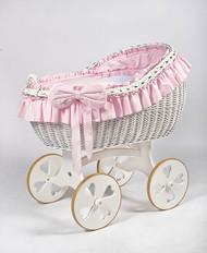 MJ Mark Bianca Due - Pink - Heart Wheels - Wicker Crib