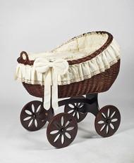 MJ Mark Bianca Tre - Antique Cream - Spoke Wheels - Wicker Crib