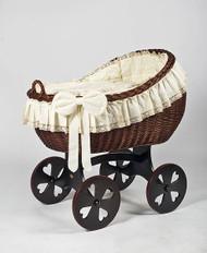 MJ Mark Bianca Tre - Antique Cream - Heart Wheels - Wicker Crib
