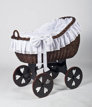 MJ Mark Bianca Tre - Antique White - Heart Wheels - Wicker Crib