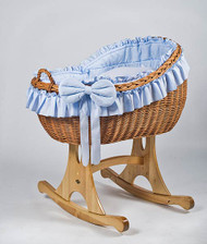 MJ Mark Bianca Uno - Blue - Rocker - Wicker Crib