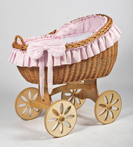 MJ Mark Bianca Uno - Pink - Spoke Wheels - Wicker Crib