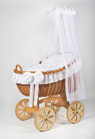 MJ Mark Bianca Uno - White - Spoke Wheels - Wicker Crib