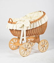 MJ Mark Bianca Uno - Ivory - Spoke Wheels - Wicker Crib