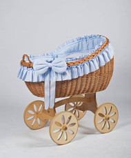 MJ Mark Bianca Uno - Blue - Spoke Wheels - Wicker Crib