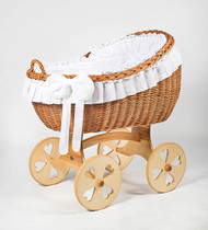 MJ Mark Bianca Uno - White - Heart Wheels - Wicker Crib